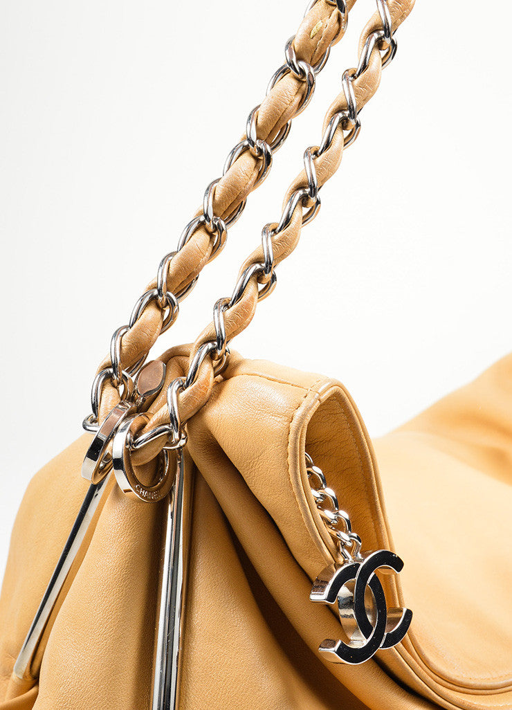 "Tan Leather Chanel 'CC' Logo Chain Strap ""Ultimate Soft"" Hobo Bag Detial 2"