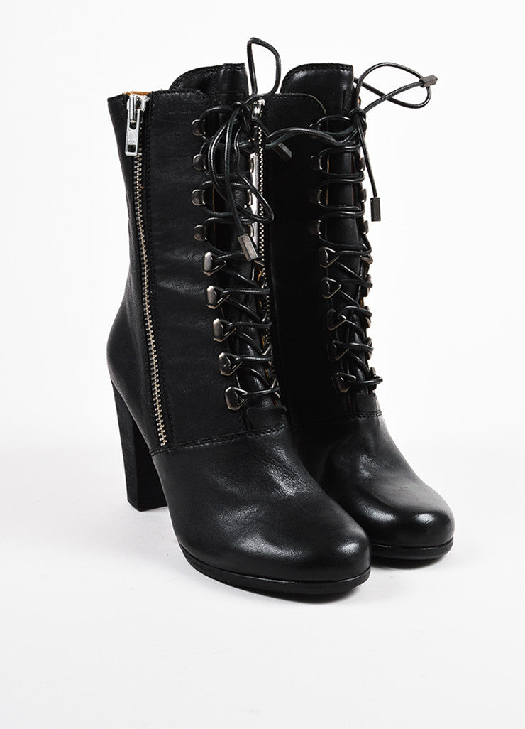"Chloe Black Leather Lace Up Block Heel ""Punky"" Zip Short Boots Frontview"