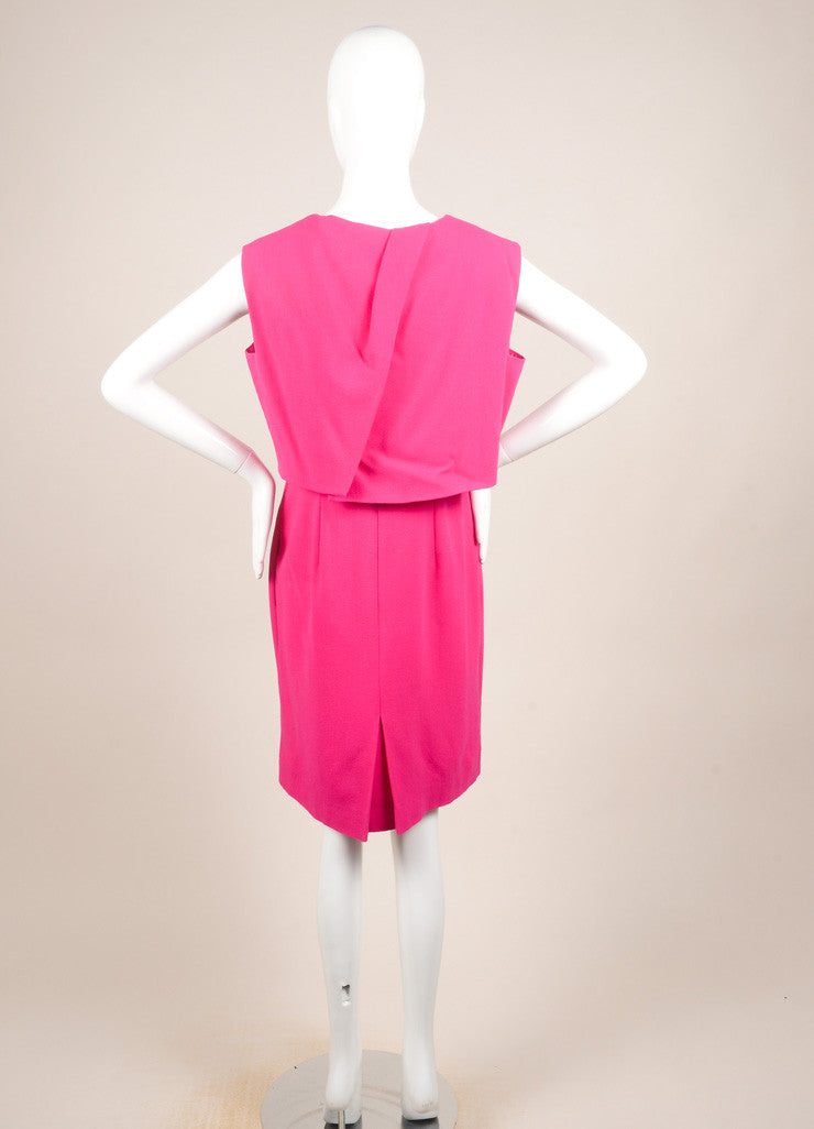 Christian Dior Fuchsia Wool Two Layer Sleeveless Dress Backview