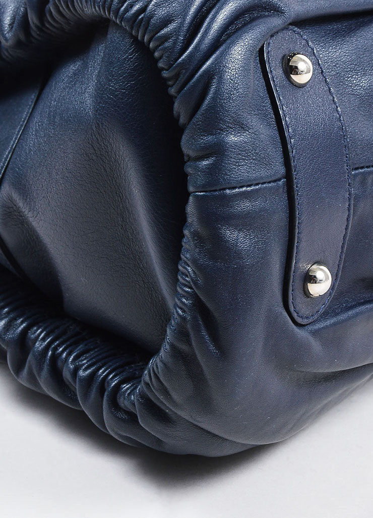"Christian Dior Navy Leather Ruched ""Karenina"" Handbag Detail"