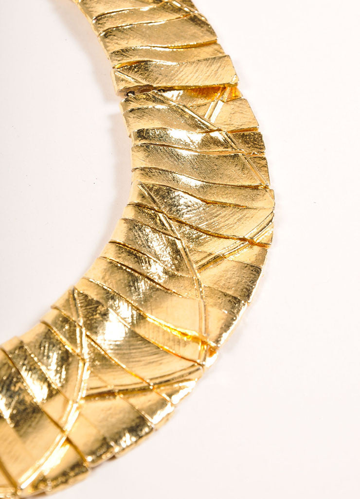 Ciner Gold Toned Textured Strip Embellishment Collar Necklace Detail