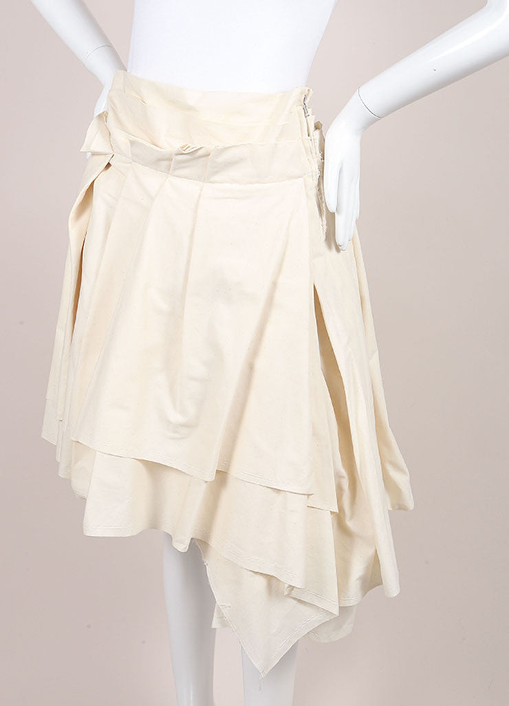 Comme des Garcons New With Tags Cream Heavyweight Asymmetric Layered Cotton Skirt Sideview