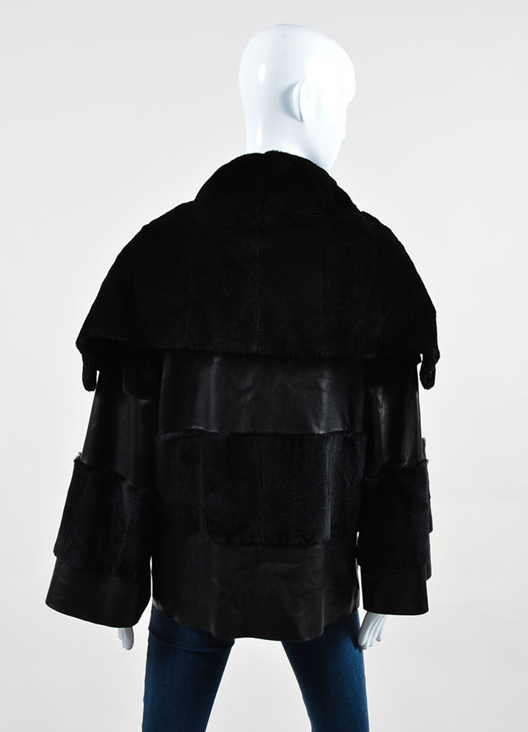 Black Dolce & Gabbana Leather Fur Shawl Collar Striped Button Coat Backview