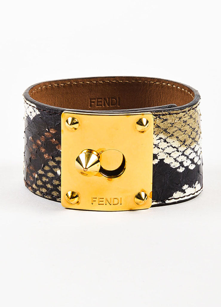 "Fendi Gold Toned, Black, and Cream Snakeskin Leather ""Goldmine"" Wide Bracelet Frontview"
