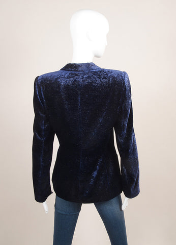 Giorgio Armani Dark Blue Glittery Velvet Buttoned Peak Lapel Long Sleeve Blazer SZ 40 Backview