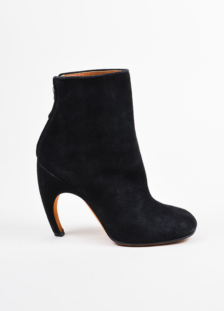 Givenchy Black and Silver Toned Suede Contoured Heel Zipped Ankle Boots Sideview