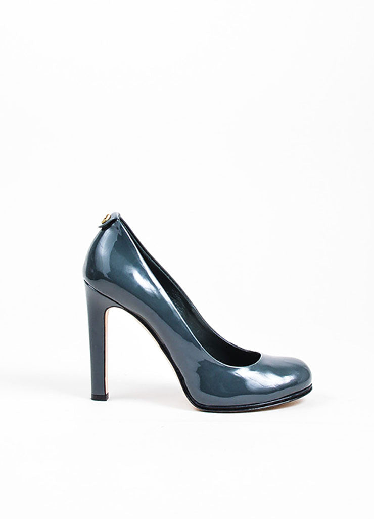 Grey Gucci Patent Leather 'GG' Round Toe Pumps Side