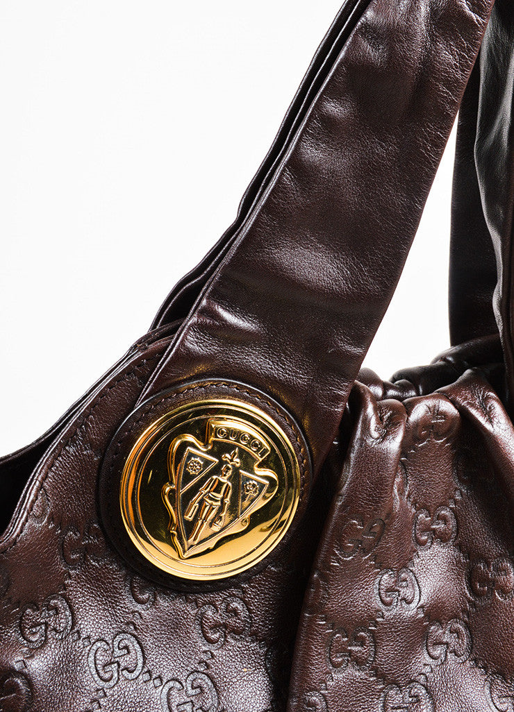 "Gucci Dark Brown Guccissima Leather Monogram Embossed ""Hysteria"" Hobo Bag Detail 2"