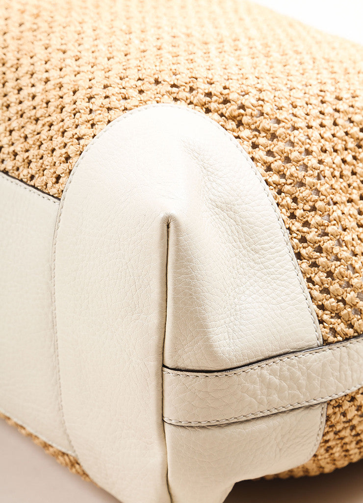 "Gucci Tan and White Woven Straw Leather Trim ""Bamboo Large Shopper"" Tote Bag Detail"