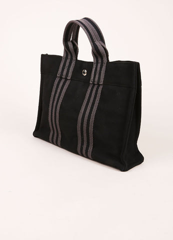 Hermes Black and Grey Canvas Striped Tote Bag Sideview
