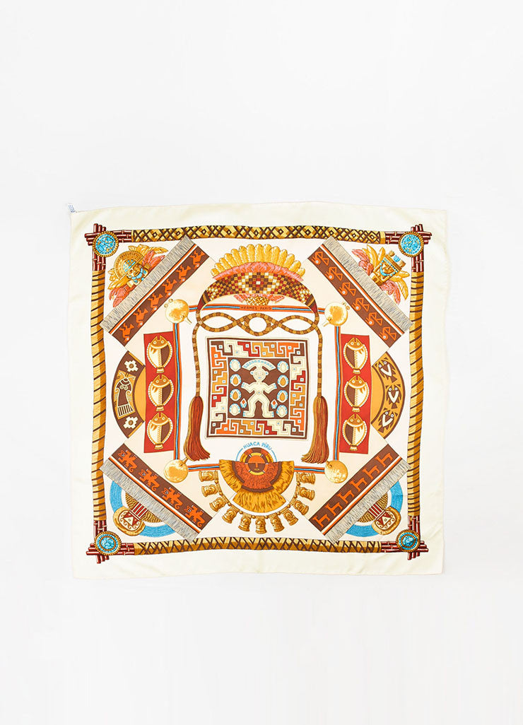 "•ÈÀHermes Brown, Cream, and Burgundy Silk ""Huaca Peru"" Tassel Feather Print Square Scarf Frontview 2"