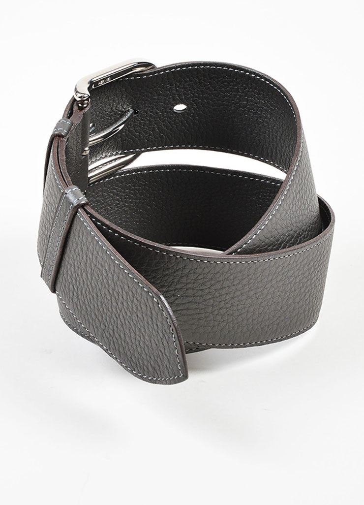 Charcoal Grey and Silver Toned Hermes Pebble Leather Belt Backview