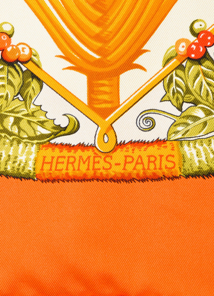 "Hermes Orange and Multicolor Silk Hula Girl Bird Print ""Aloha"" 90cm Scarf Brand"