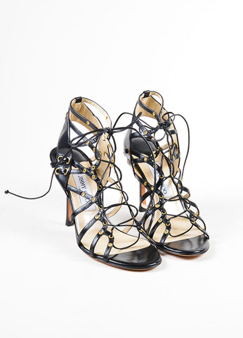 Black Jimmy Choo Leather Strappy Lace Up Open Toe Heels Front