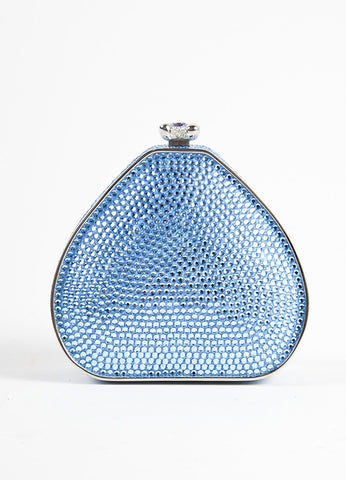 Judith Leiber Blue Crystal Chain Strap Small Minaudiere Purse Frontview
