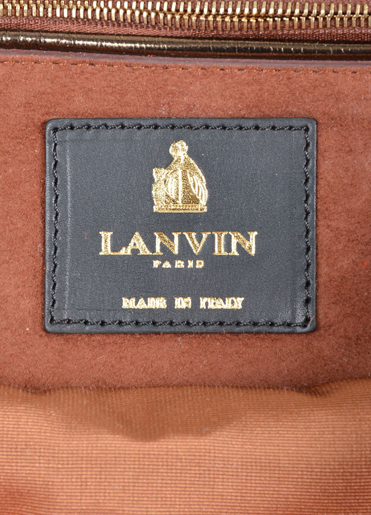 Red and Gold Toned Lanvin Suede Foldover Flap Clutch Bag Brand