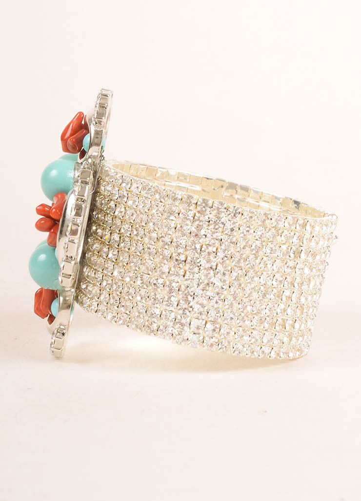 Lawrence Vrba Silver Toned, Turquoise, and Red Rhinestone Beaded Cuff Bracelet Sideview