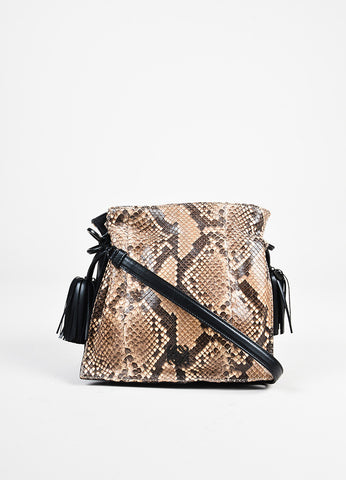 "Loewe Beige Brown Python Leather ""Flamenco"" Tassel Drawstring Bag front"