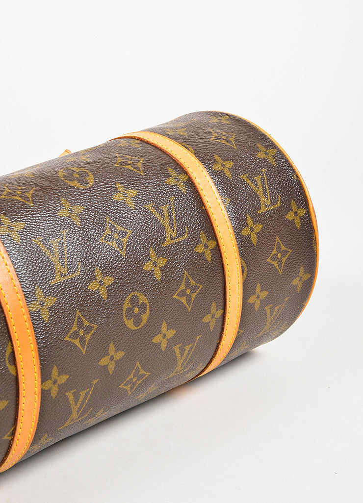 "Louis Vuitton Brown and Tan Coated Canvas Monogram ""Papillon"" Duffle Bag Bottom View"