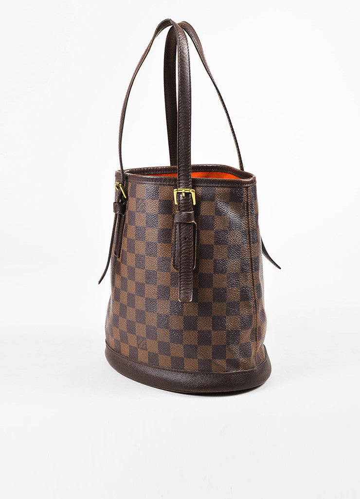 "Louis Vuitton Brown and Gold Toned ""Damier Ebene"" Coated Canvas ""Petit Bucket"" Bag Sideview"