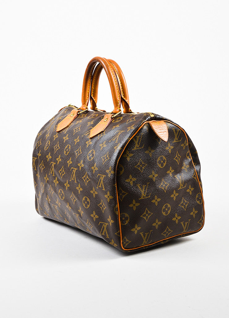 "Louis Vuitton Brown Tan Coated Canvas and Leather Monogram ""Speedy 30"" Bag Sideview"