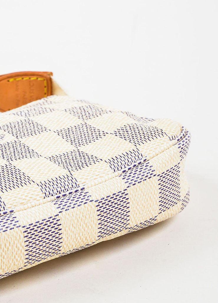 "Louis Vuitton Cream Navy ""Damier Azur"" Coated Canvas ""Mini Pochette"" Wristlet Bottom View"
