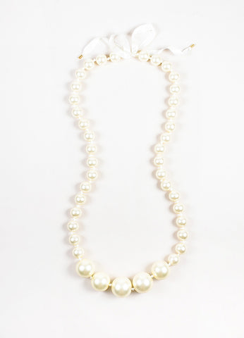 Louis Vuitton Cream Faux Pearl Oversized Satin Ribbon Necklace Frontview
