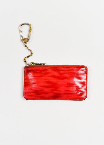 Red Louis Vuitton Epi Leather Zip Top Keychain Coin Pouch Front