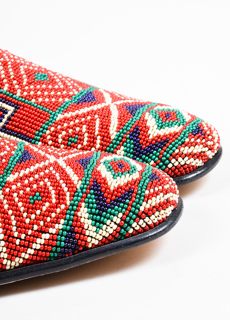Men's Donald J Pliner Red Black Multicolor Canvas Beaded Loafers Detail