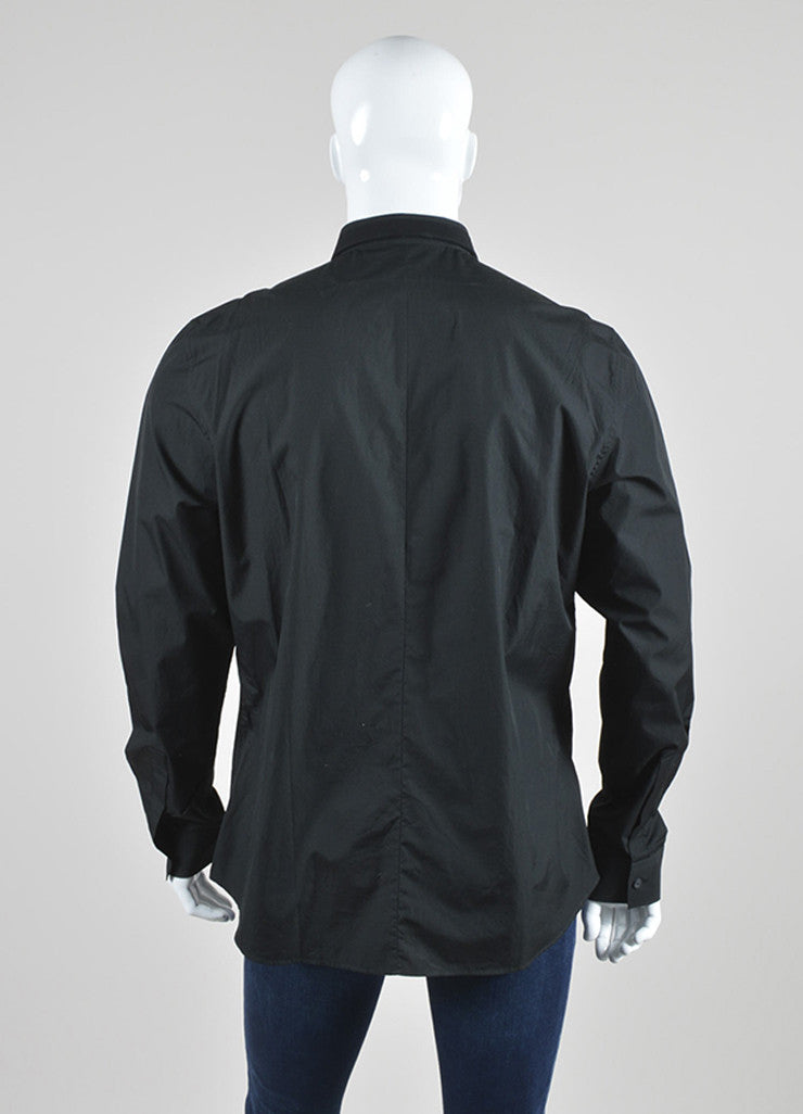Men's Black Givenchy Cotton Cuban Fit Button Down Long Sleeve Shirt Back