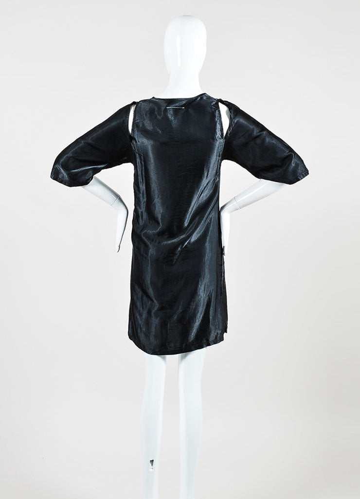 Black Maison Martin Margiela Satin Cut Out Shoulder Crop Sleeve Dress Backview