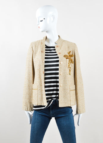 Marc Jacobs Gold Metallic Knit Sequin Palm Tree Jacket Frontview
