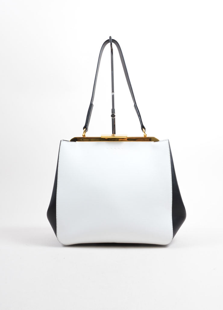 Marni White and Black Color Block Leather Top Handle Frame Bag Frontview