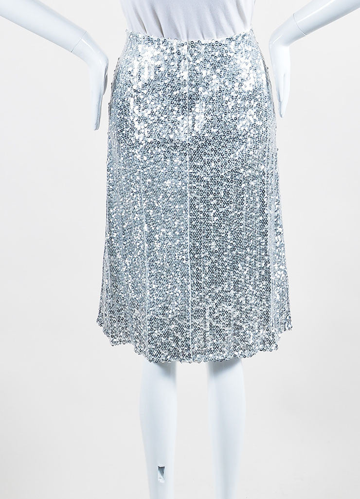 Silver Nina Ricci Silk and Shimmering Sequin A-Line Skirt Backview
