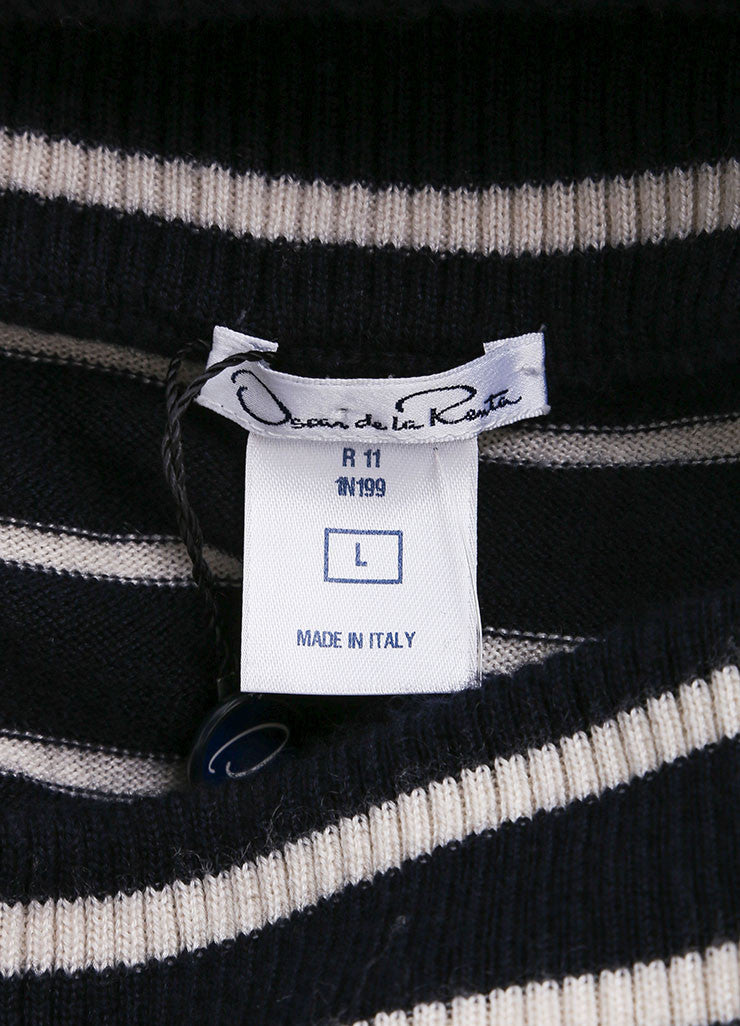 Oscar de la Renta New With Tags Navy and Cream Cashmere and Silk Stripe Sweater Dress Brand