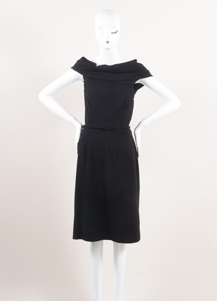 Oscar de la Renta New With Tags Black Wool Asymmetrical Draped Belted Dress Frontview
