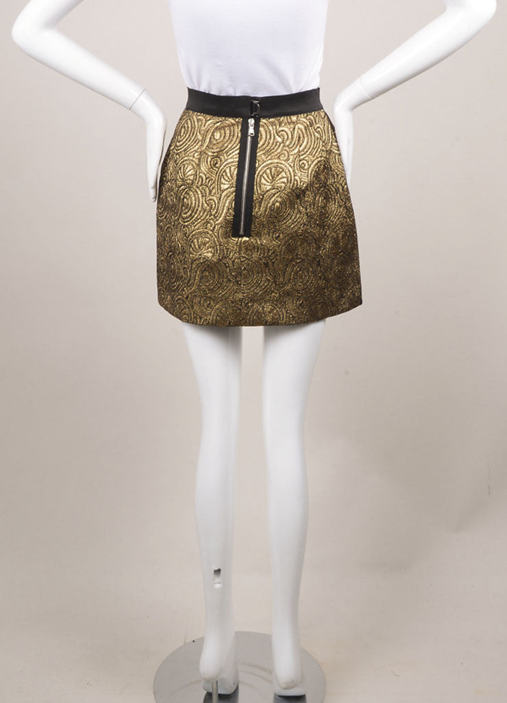 3.1 Phillip Lim Gold Brocade Mini Skirt Backview