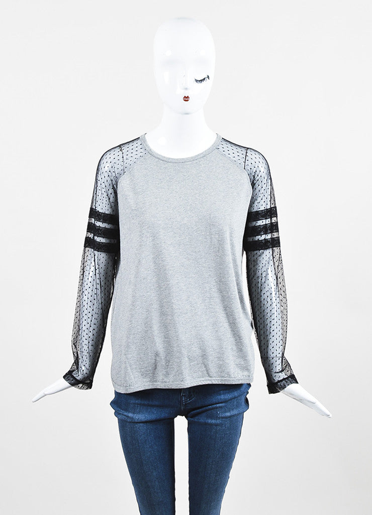 Red Valentino Grey and Black Sheer Sleeve T-Shirt Top Frontview