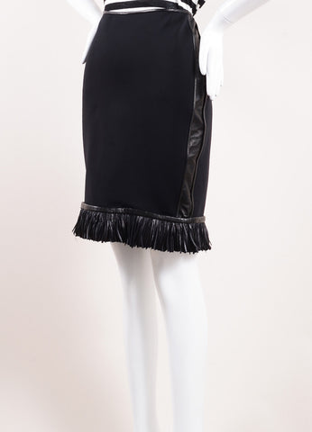 Reed Krakof Black Neoprene and Leather Fringe Feather Pencil Skirt Sideview