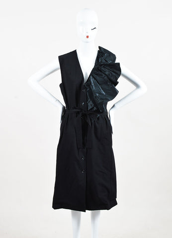 Tome Black Cotton Belted Sleeveless Ruffle Detail Button Up Dress Frontview