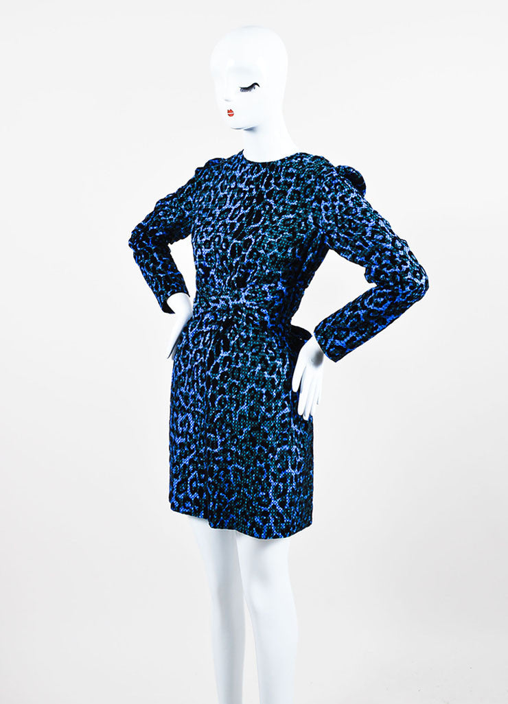 Blue and Black VICTORIA Victoria Beckham Velvet Leopard Gingham Belt Dress Sideview