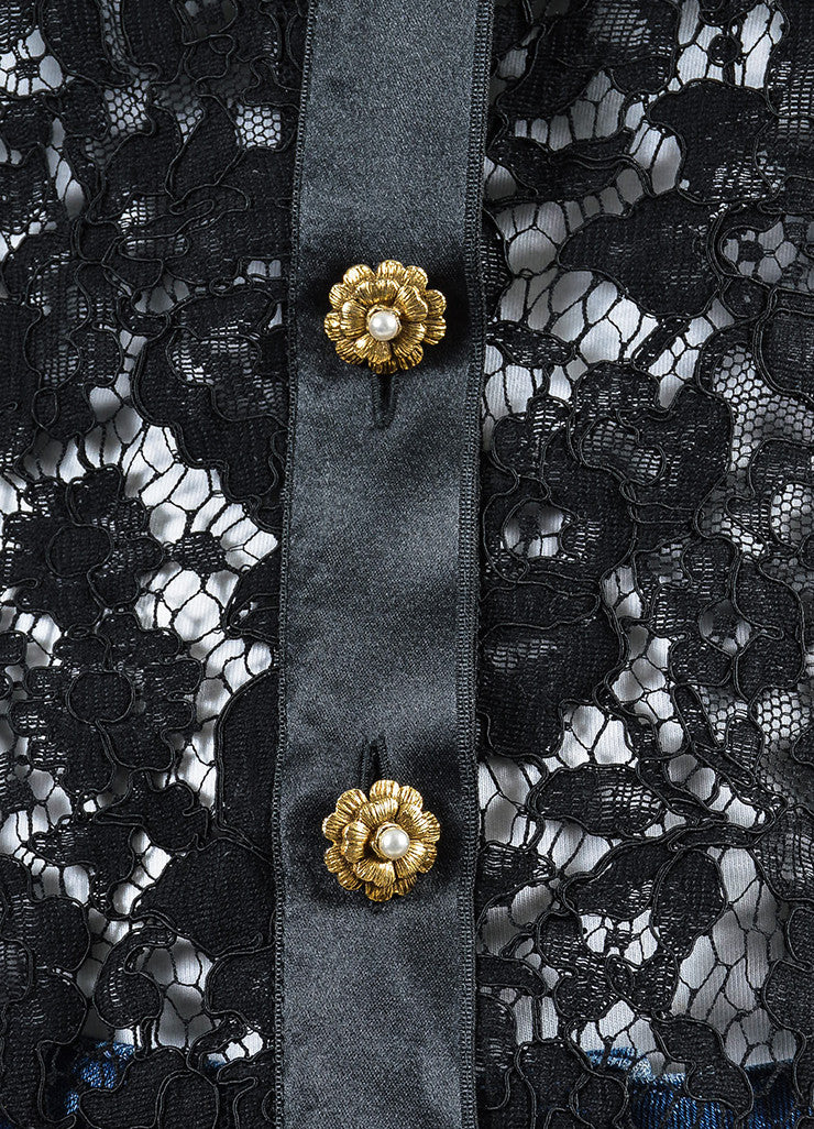 Chanel Black Lace Satin Camellia Pearl Flower Button Jacket Detail