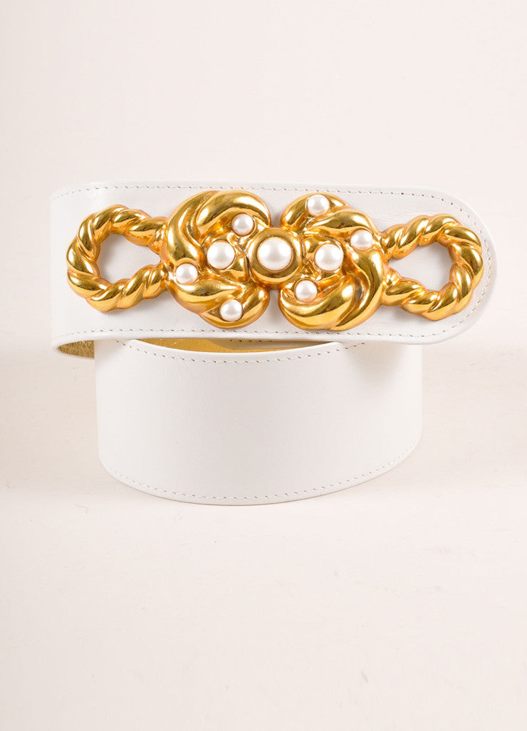 Monai Accessories White Leather and Gold Toned Faux Pearl Detail Belt Frontview