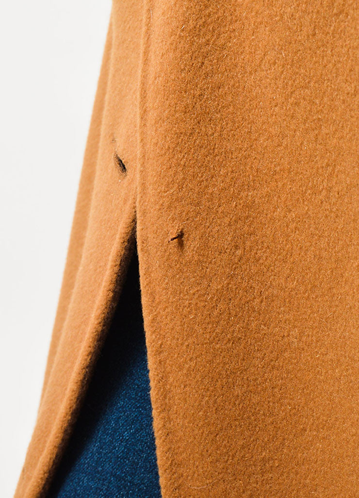 Revillon Camel Wool Fur Trim Collar Open Long Coat Detail 2