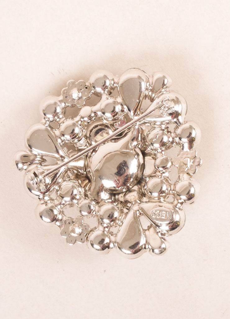 Weiss Grey and Silver Toned Rhinestone Embellished Floral Pin Brooch Brand