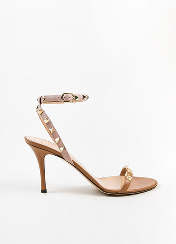 "Valentino Nude Taupe Leather Ankle Strap ""Rockstud"" Heeled Sandals Sideview"