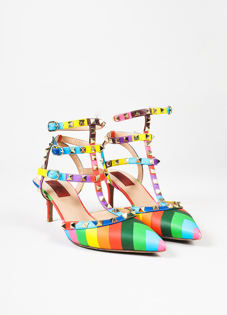 "Valentino Multicolor Leather Chevron Print ""Rockstud 1973"" Caged Pumps Frontview"