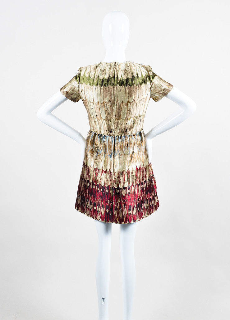 Multicolor Valentino Feather Print Jacquard Weave Short Sleeve Dress Backview