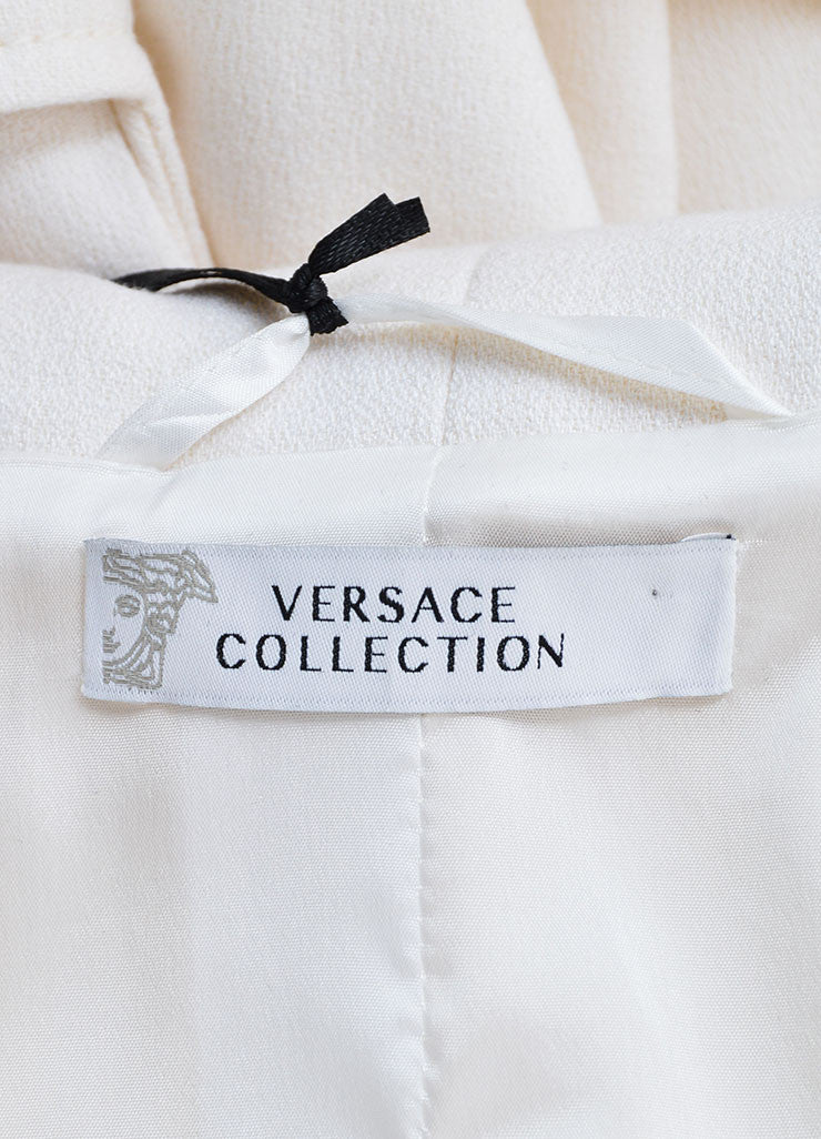 Versace Collection Cream Wool Shawl Collar Pea Coat Brand