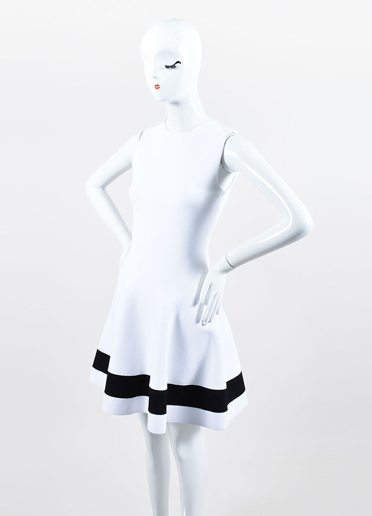 White and Black Victoria Beckham Stripe Sleeveless Fit and Flare Dress Sideview